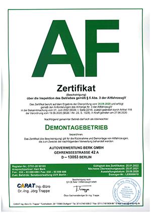 Zertifikat-Berk